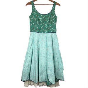 Anthropologie snak green floral tulle vtg dress 4